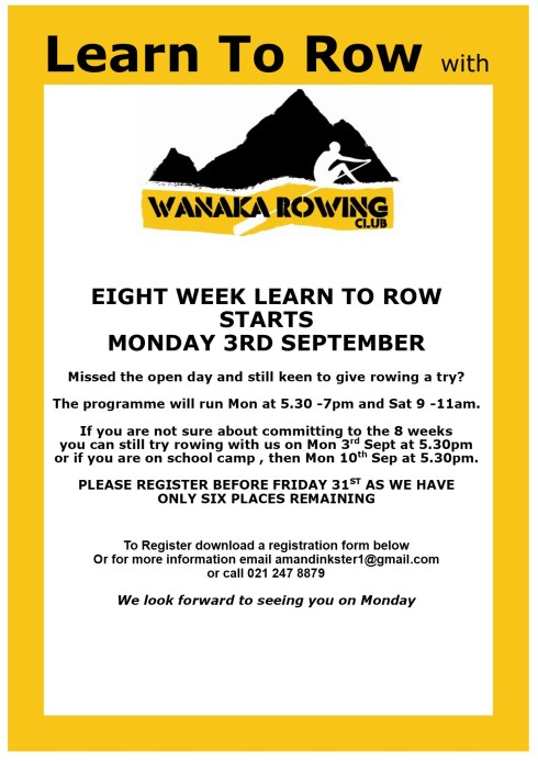 Wanaka Rowing Poster A3- learn to row a4pub