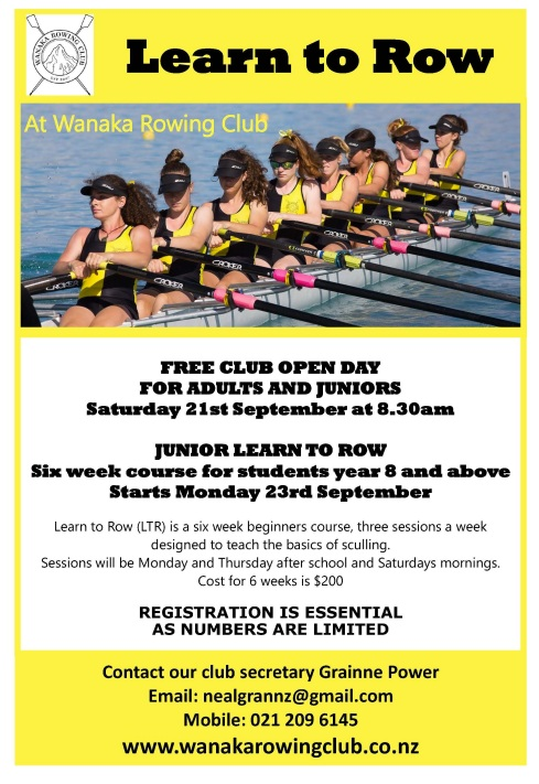 Wanaka Rowing Poster A4- Generic learn to row poster
